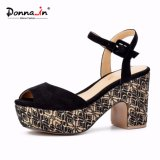 Lady Suede Leather Shoes High Heels Women Weaved Platform Sandals