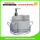 Durable White Ceramic Bathroom Set Accessory for Bath Gift Set