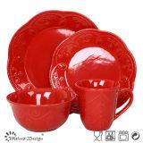 Special Shape Ceramic Red Color Dinner Set