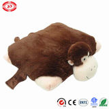Brown Square Monkey Pet Shape Cushion 2in1 Soft Stuffed Pillow