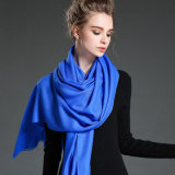 Women Blue Twill Wool Scarf Shawl