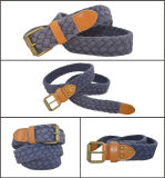 Dark Blue Cotton Webbing PU Braided Casual Belt