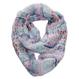 Girls Fashion Strawberry Printed Polyester Voile Infinity Scarf (YKY1115)