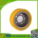 Yellow PU on Cast Iron Fork-Lift Truck Wheel