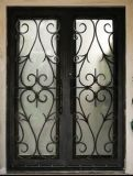 Wrought Iron Main Double Doors with Transom (UID-D063)
