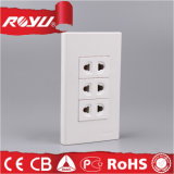 Double Gang 16A Beige Color Outlet Socket