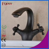 Fyeer Fashion Design Double Cross Handle Black Basin Mixer Tap