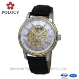 Fashion Mens Skeleton Automatic Mechanical Date Brown Leather Wrist Watch