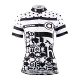 Black & White Short Sleeve Cycling Shirts Women′s Cycling Jerseys Breathable Sport Outdoor Quick Dry