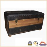 Antique Faux Leather Wooden Storage Studded Bench with Drawers