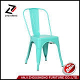 Good Quality Solid Metal Dining Chairs Steel Back Chairs Antique Blue