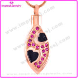 316L Stainless Steel Oval Shape with Crystals Cremation Jewelry Pendants Necklaces for Ashes