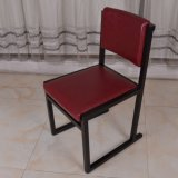 Wooden Frame Red Faux Leather Restaurant Dining Chair for Hampton Inn Hotel Furniture