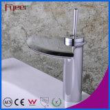 Fyeer Waterfall Crative Fan-Shaped Wide Spray Single Handle Bathroom Basin Faucet Water Mixer Tap