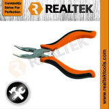 Nickel-Planted Mini Bent Nose Pliers, with Cutter with Bi-Color Plastic Handles