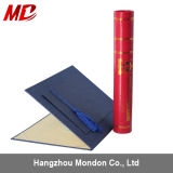 Graduation Navy Blue Paper Certificate Cover and Red Tube Holder Set