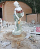 Garden Outdoor Decor Marble Lady Statue with Pool