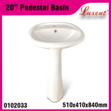 Porcelain Colored Floor Mounted Hand Wash Pedestal Basin