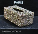 Hand Made Diamante Diamond Rhinestone Crystal Tissue Paper Box Holder (TB-011 topaz)