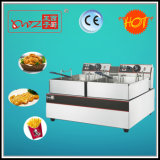 Df-E02 Two Tanks Two Baskets Two System Electric Deep Fryer Made in China