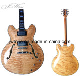 Double F Hole Natural Color Quality Electric Guitar