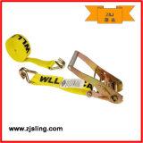 "Ratchet Strap/Tie Down W/ Double J-Hook 2"" X 30′ Yellow"