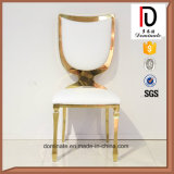 Special Back Design High Quality White PU Seating Metal Rose Gold Dining Chair