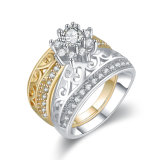 Top Sale Two Tone Plated Lady Fashion Jewellery Finger Ring Design with Zircon