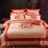 100% Egypt Cotton White Embroidery Palace Royal Queen Size Quilt Cover Bedding Set