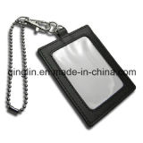 Promotion Gift Leather Card Holder with Metal Lanyard (QL-GZZ-0008)