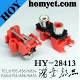 Double Holes RCA Pin Jack with Silvering in Red (HY-28413)