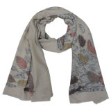 Lady Fashion Leaves Printed Polyester Voile Scarf (YKY4207)