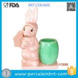 Cute Easter Uncle Bunny Flower Pot Mini Ceramic Desk Planter