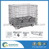 Rigid Metal Cargo Wire Mesh Stackable Container with 4 Wheels