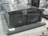 G654 Two Crypt Dark Grey Granite Mausoleum