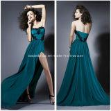 Strapless Party Fashion Dress Side Split Evening Prom Dresses Z5028