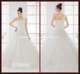 One Shoulder Ball Gown Appliques White Tulle Wedding Dresses Rr9008
