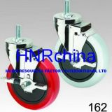 Red PU Wheel Swivel with Lock Thread Top Caster