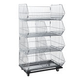 Folding Steel Wire Display Storage Container Cage