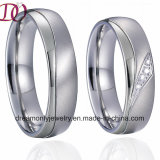 Pure Titanium Steel Silver Wedding Band Engagement Finger Rings Pair