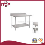 S/S Double Layers Worktable with Under Shelf & Backsplash (WT-W04)