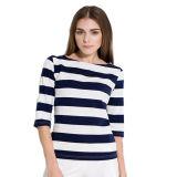 New Arriavel Soft Cotton Striped Fashion Lady T-Shirt
