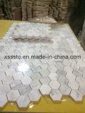 Hexagon Bianco Carrara Marble Mosaic Tiles Polished & Honed for Bathroom