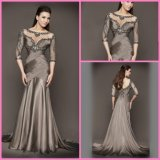 Long Sleeves Party Prom Formal Gowns Brown Evening Dresses B1447