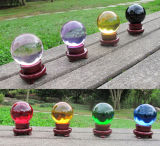 Colorful Crystal Glass Ball Sphere with Wooden Base