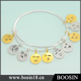 925 Sterling Silver Expandable Adjustable Emoji Wire Bangle Bracelet