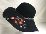 100% Wool Felt Winter Style Black Color Embroidery Emb Floppy Style PU Band Big Brim Hat