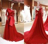 Long Sleeve Muslim Plus Size Dubai Satin Evening Dress Party Gown Wgf142
