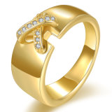Fashion Gold Plated Zircon Finger Ring Custome Jewelry