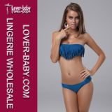 Dark Blue Tassel Swimsuit Sexy Girl Bikini (L3189)